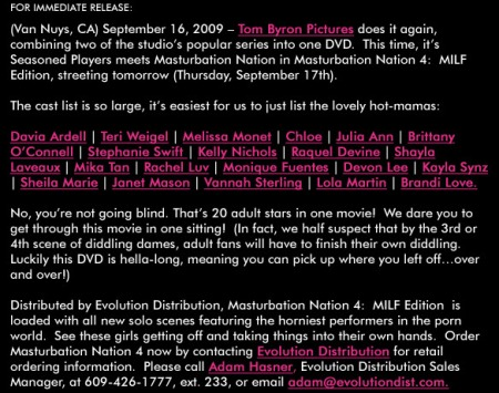 Masturbation Nation 4 -- Sept. 2009 Press Release